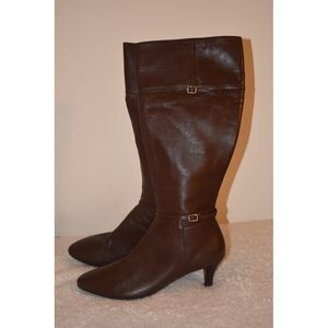 Cole Hann knee boots heels brown leather 9.5